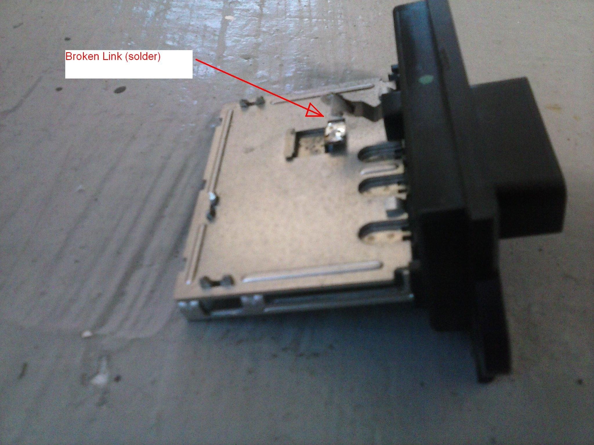 Broken solder joint